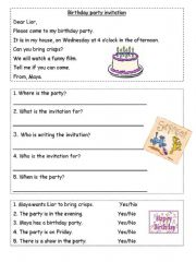 English powerpoint: A birthday Invitation..