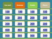 English powerpoint: JEOPARDY 1/2: Can you? Grammar; People; Places