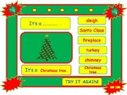 English powerpoint: Festivals - CHRISTMAS vocabulary game part 2