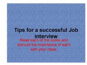 English powerpoint: Tips for a successful job iterview