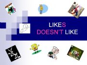English powerpoint: likes/doesn´t like with cartoon characters