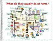 English powerpoint: What do they usually do at home? Memory game - present simple + rooms of the house