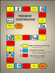 English powerpoint: Present Continuous - a boardgame-fully editable