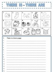 English powerpoint: THERE IS and THERE ARE TO COLOR AND WRITE