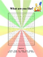 English powerpoint: What are you like?:  Printable word search on adjectives of personality