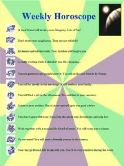 English powerpoint: Weekly Horoscope:  Printable worksheet on adjectives of personality
