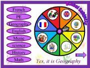 English powerpoint: School Subjects - Spin Wheel