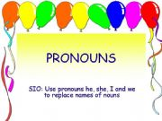English powerpoint: Pronouns - he, she, I and we