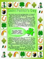 English powerpoint: Saint Patrick´s Day:  Printable complete-the-gaps reading, Printable comprehensive word search, Printable quiz and two Printable factsheets