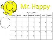 English powerpoint: PART 1 Mr Men Calendar