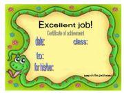 English powerpoint: reward/recognition certificates