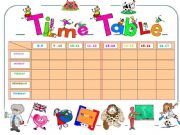 English powerpoint:  MY TIME TABLE   (adjustable.)