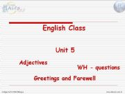English powerpoint:  Adjectives, wh-questions and greetings/farewell