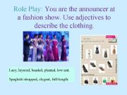 English powerpoint: Role plays for Order of Adjectives Sentence Formation