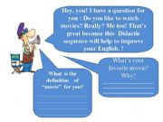 English powerpoint: Didactic Sequence about movies and family - (22 slides)
