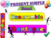 English powerpoint: Present Simple - Sentence Unscramble