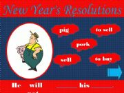 English powerpoint: Game - New Year´s Resolutions