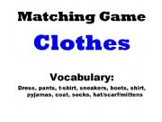 English powerpoint: Matching Game - Clothes