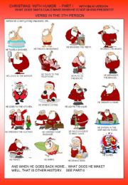 English powerpoint: CHRISTMAS WITH HUMOUR - 3th person - verb tense + B&W version