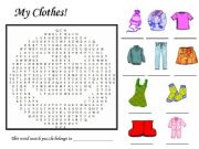 English powerpoint: My Clothes Word Search Puzzle