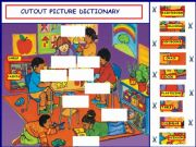English powerpoint: Cutout Picture Dictionary - Part 1: School objects & Numbers from 1 - 9