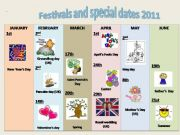 English powerpoint: Festivals and special dates 2011 (calendar)