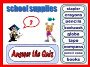 English powerpoint: Quiz: School supplies