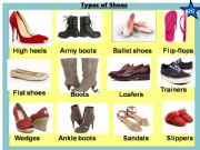 English powerpoint: Types of shoes + a game inside