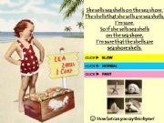 English powerpoint: She Sells Sea Shells - TONGUE-TWISTER with SOUND