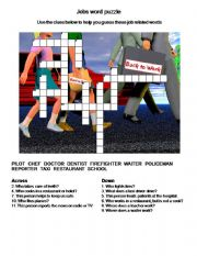 English powerpoint: Jobs Word Puzzle