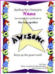 English powerpoint: Spelling bee certificate