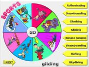 English powerpoint: EXTREME SPORTS - Spin the wheel game (PART 3)
