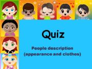 English powerpoint: Jeopardy - People description quiz (people, hair, clothes, appearance)