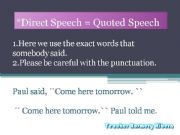 English powerpoint: Direct Speech  AND Reported Speech ALL THAT CHANGES!!