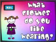 English powerpoint: What do you like wearing? - game (1/2)