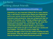 English powerpoint: Writing exercises about friends and friendship