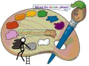 English powerpoint: colours with an animated stickman
