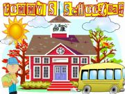 English powerpoint: Tommy´s Schoolbag (school supplies ppt game with sound)