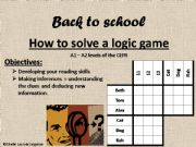 English powerpoint: how to solve a logic game