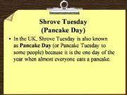 English powerpoint: Pancake Day in the UK