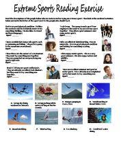 English powerpoint: Extreme Sport Reading Exercise PET style
