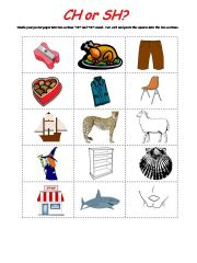 English powerpoint: CH SH Sort Activity