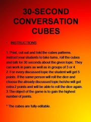 English powerpoint: Conversation cubes