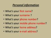 English powerpoint: Personal information