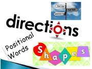 English powerpoint: DIRECTIONS, PREPOSITIONS OF PLACE, SHAPES, SPATIAL RELATIONSHIPS - LESSON, REVIEW & EXERCISES
