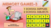 English powerpoint: Memory(Matching) games SET3 - SCHOOL SUPPLIES, SCHOOL SUBJECTS