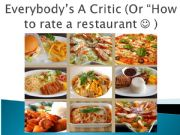 English powerpoint: FOOD & COOKING: EVERYTHING YOU NEED TO RECOMMEND A RESTAURANT