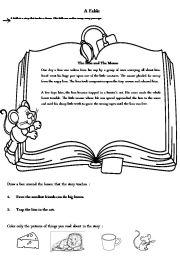 english worksheets the lion and the mouse worksheets. Black Bedroom Furniture Sets. Home Design Ideas