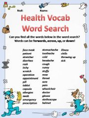 English powerpoint: Health Vocabulary Word Search