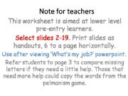 English powerpoint: Jobs: pre-A1 or pre-entry 1